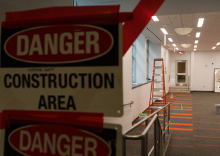 Construction is almost complete inside Falk College's White Hall as classroom improvements continue. Photo taken Aug. 8, 2017